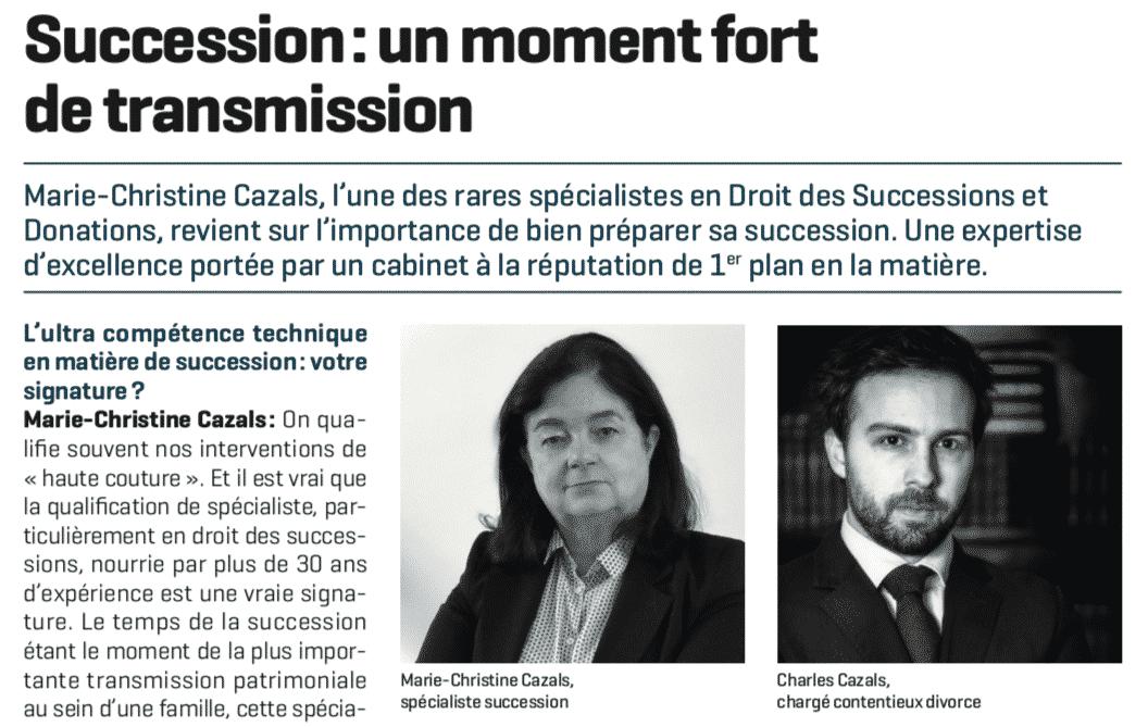 Bien préparer sa succession : Maître Cazals témoigne dans Le Figaro