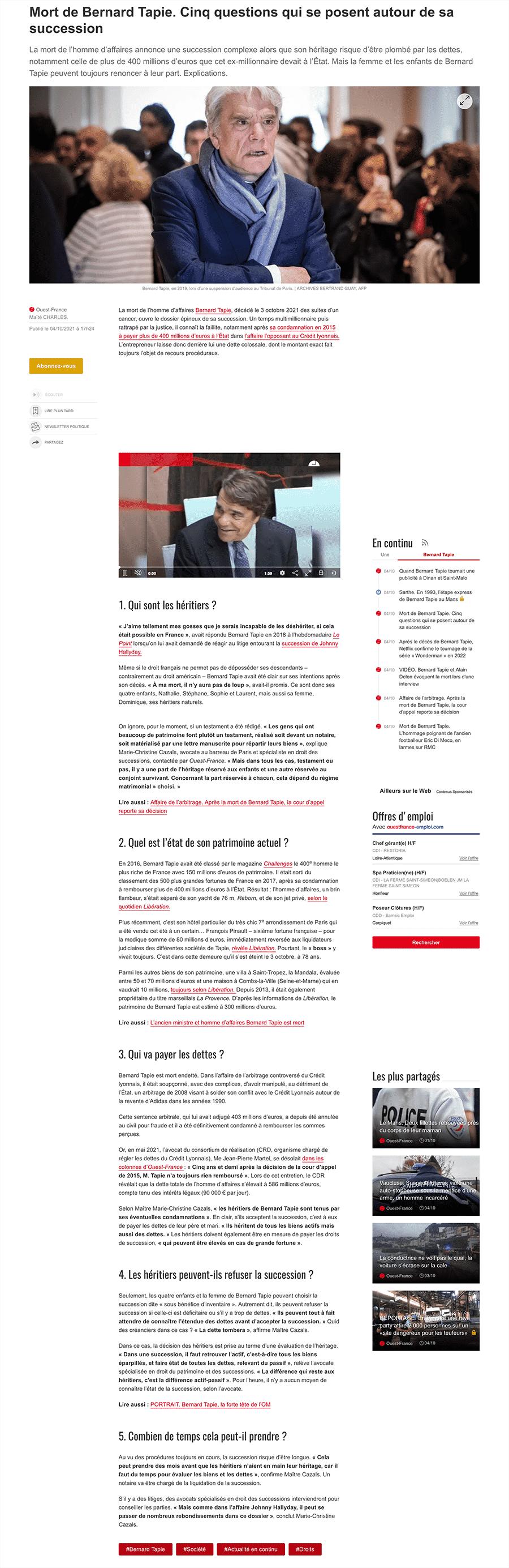 Article de Ouest-France : Mort de Bernard Tapie. Cinq questions qui se posent autour de sa succession